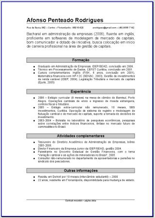 Modelos De Curriculum Grátis Para Download Parte 1